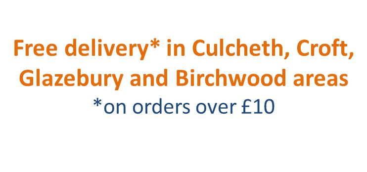 free delivery on orders over £10 in certain areas banner
